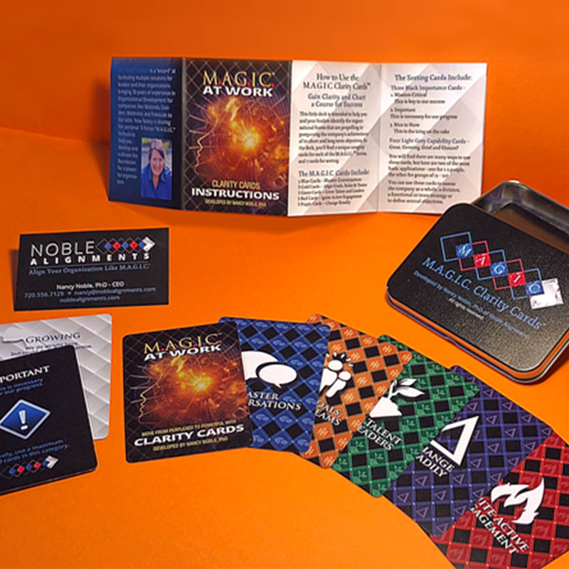 Complete Branding and Custom playing cards for Noble Alignments by Gail Gonzales of Evolve Your Brand